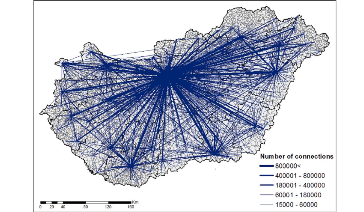 Települések, amelyeket legalább 15 ezer kapcsolat kötött össze. (A Does geography matter in online social network structures? című előadásból)Grafika: Jakobi Ákos