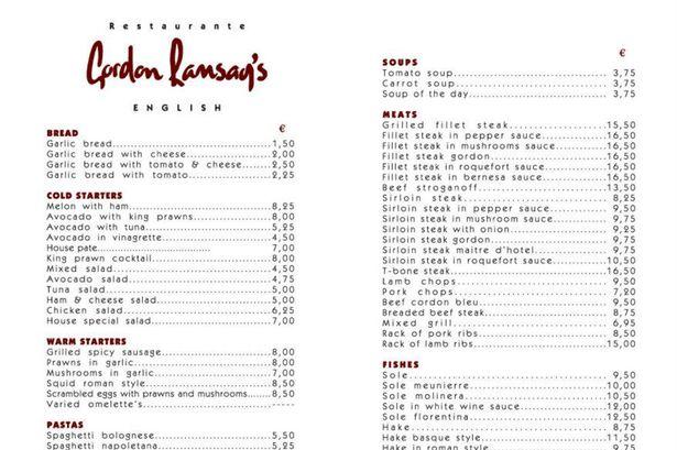 Gordon Ransay étterem étlap