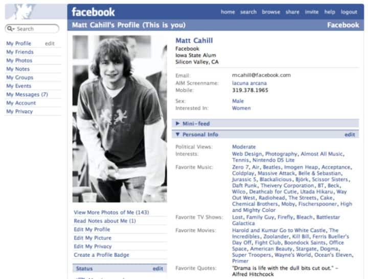 Facebook 2005 - 2. frissített