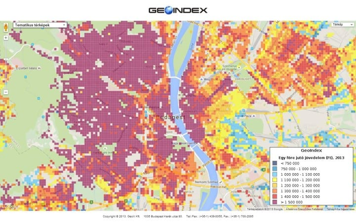 Geoindex utca szintű vásárlóerő